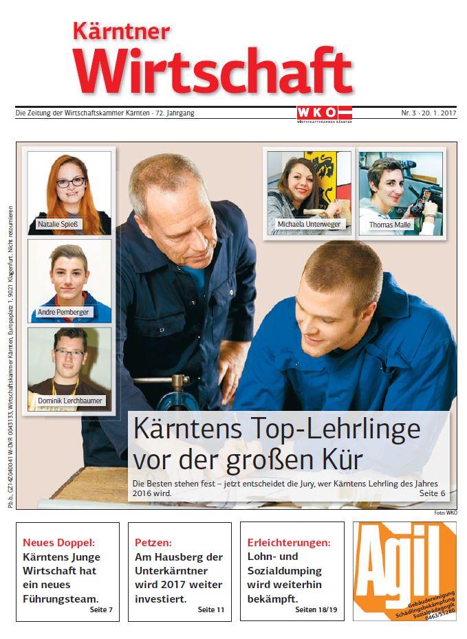 Kärntner Wirtschaft 20.01.2017 Lehrling des Jahres (Titelseite)