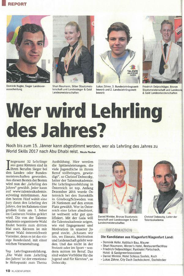 Klagenfurter 11.01.2017 Lehrling des Jahres