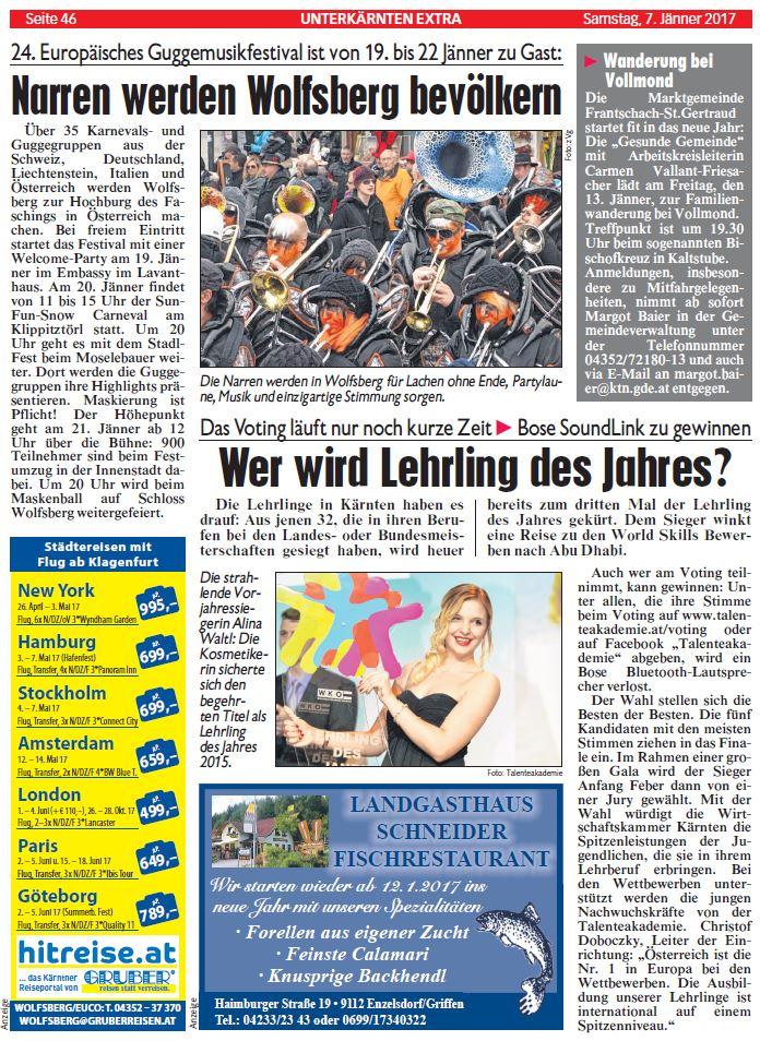 Kronen Zeitung 07.01.2017 Lehrling des Jahres