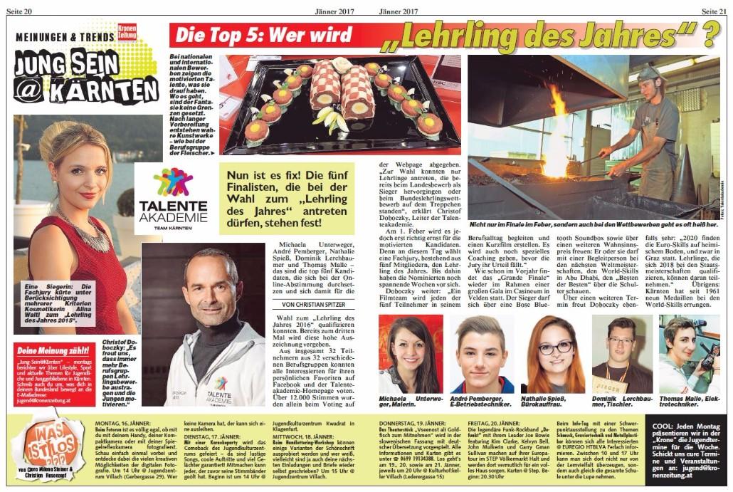 Kronen Zeitung 16.01.2017 Lehrling des Jahres