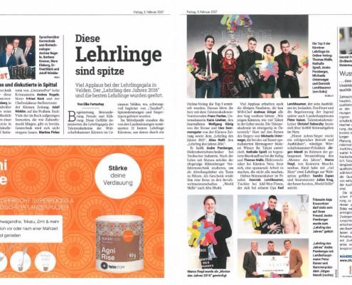 Kleine Zeitung 03.02.2017 Lehrling des Jahres