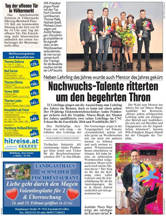 Kronen Zeitung 11.02.2017 Lehrling des Jahres