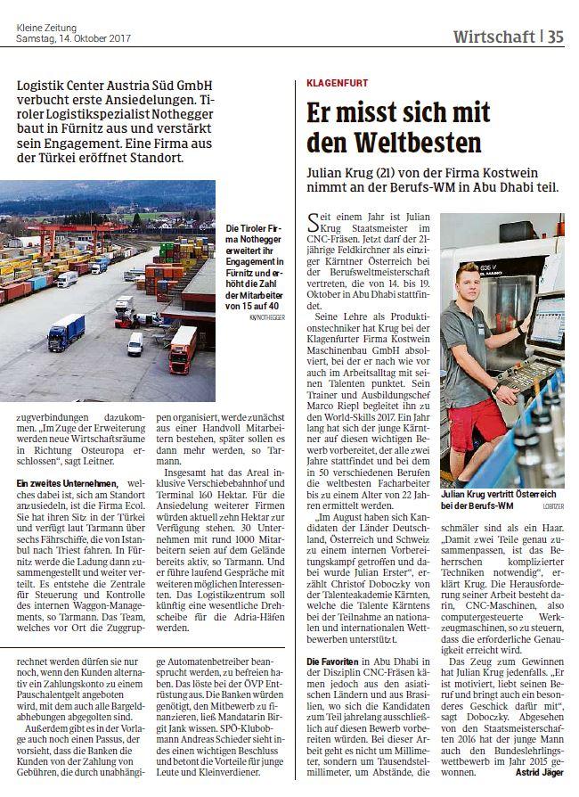 Kleine Zeitung 14102017 Worldskills Talenteakademie Kärnten