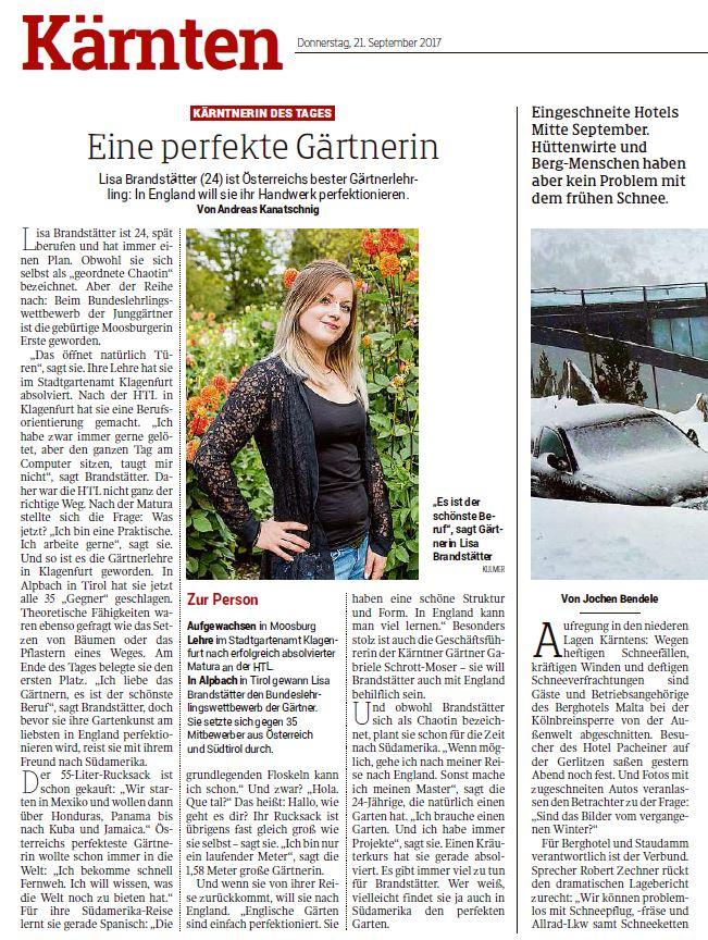 Kleine Zeitung 21.09.2017 Gärtner