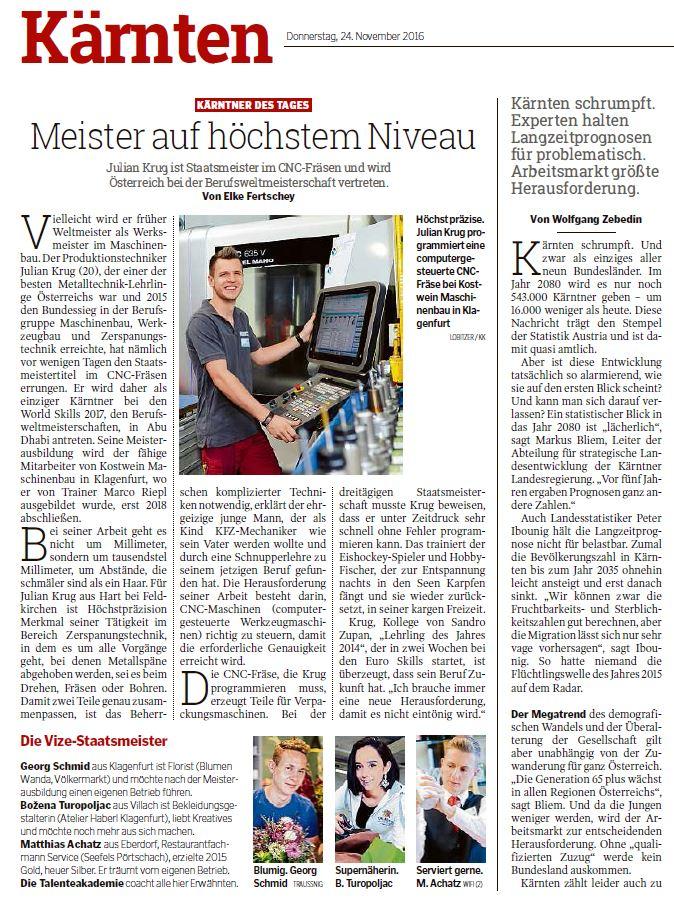 Kleine Zeitung 24.11.2016 Staatsmeisterschaften