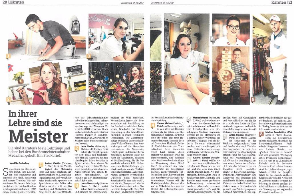 Kleine Zeitung 27.07.2017 Bundeslehrlingswettbewerb