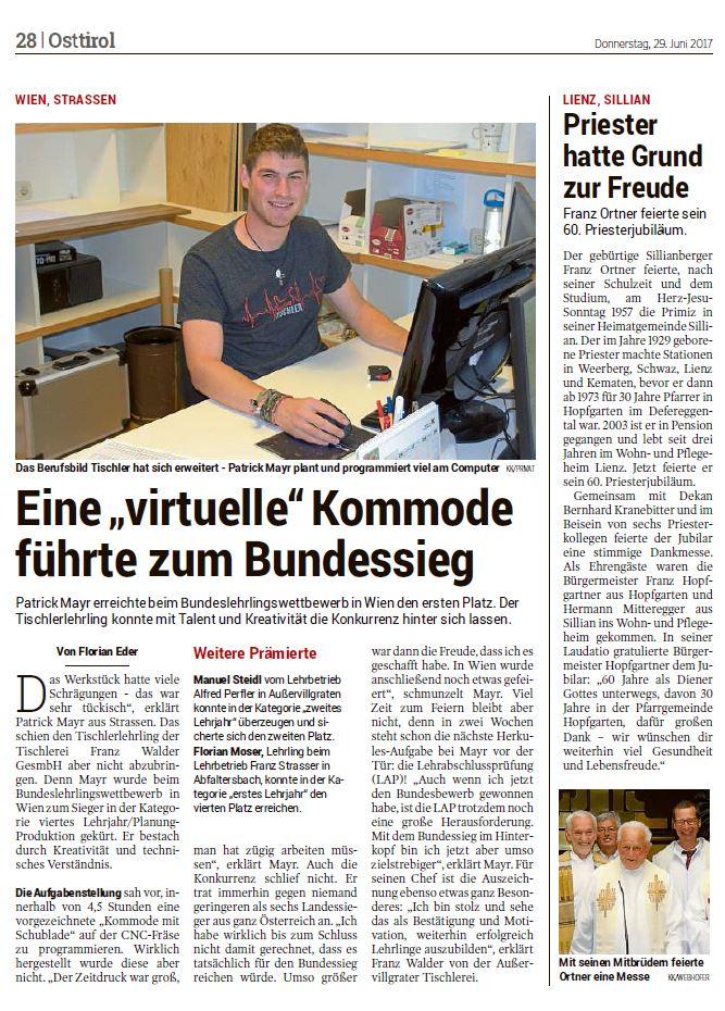 Kleine Zeitung 29.06.2017 Tischler