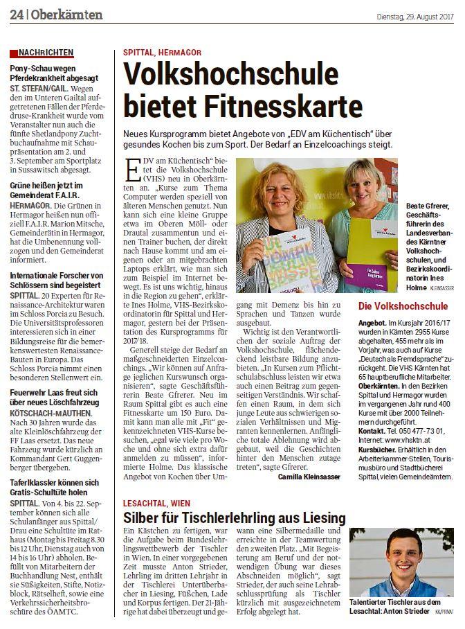 Kleine Zeitung 29.08.2017 Tischler