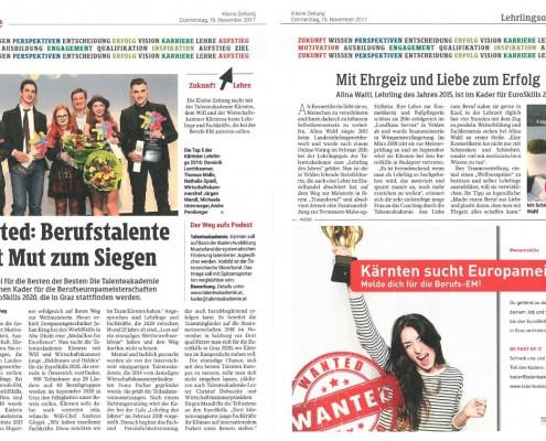 Kleine Zeitung 16.11.2017 EuroSkills