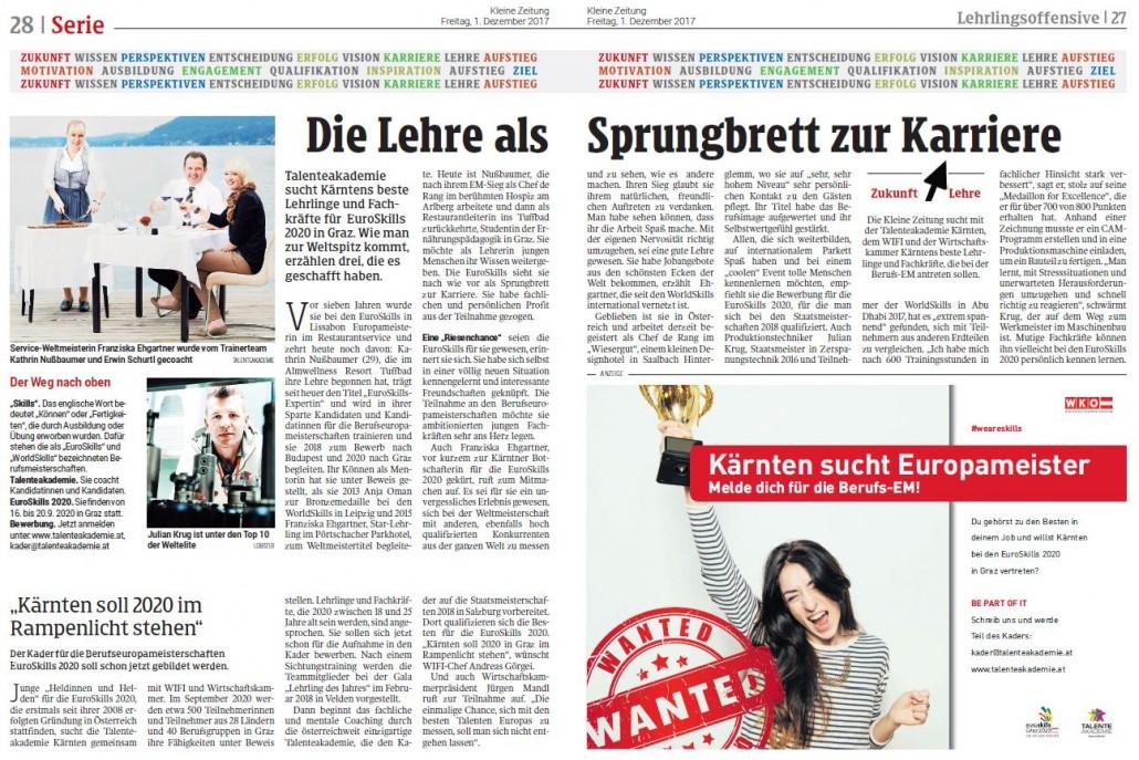 Kleine Zeitung 01.12.2017 EuroSkills