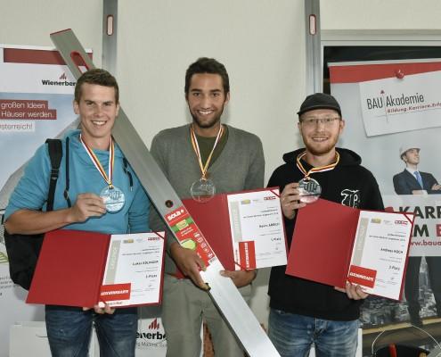 Landesjungmaurerwettbewerbs KŠrnten 2018 Lukas Edlinger/2.Platz, Kevin Arrich/1.Platz, Andreas Koch/3.Platz ©fritzpress