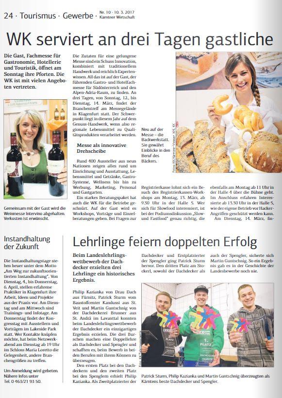 Kärntner Wirtschaft 10.03.2017 Dachdecker und Spengler