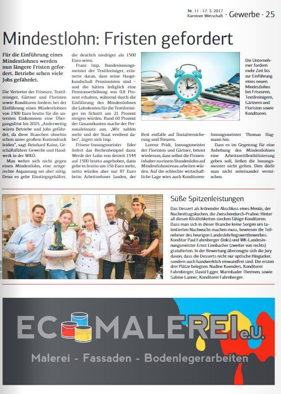 Kärntner Wirtschaft 17.03.2017 Konditoren