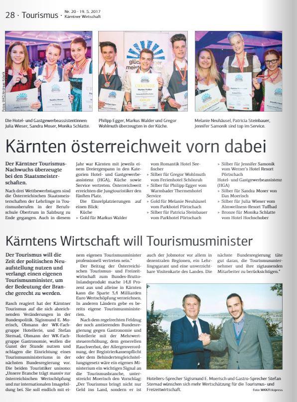 Kärntner Wirtschaft 19.05.2017 Tourismus