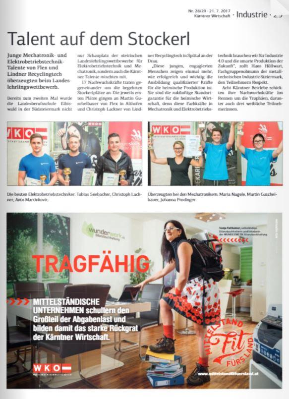Kärntner Wirtschaft 21.07.2017 Mechatronik und Elektrobetriebstechnik