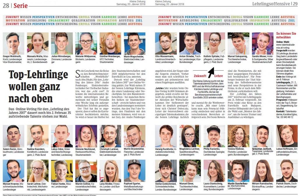 Kleine Zeitung 20.01.2018 Lehrling des Jahres