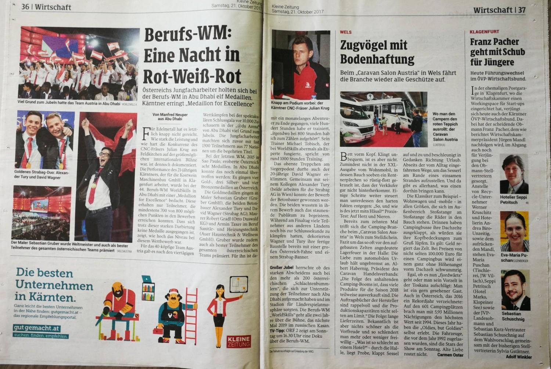 Kleine Zeitung 21102017 Worldskills Talenteakademie Kärnten