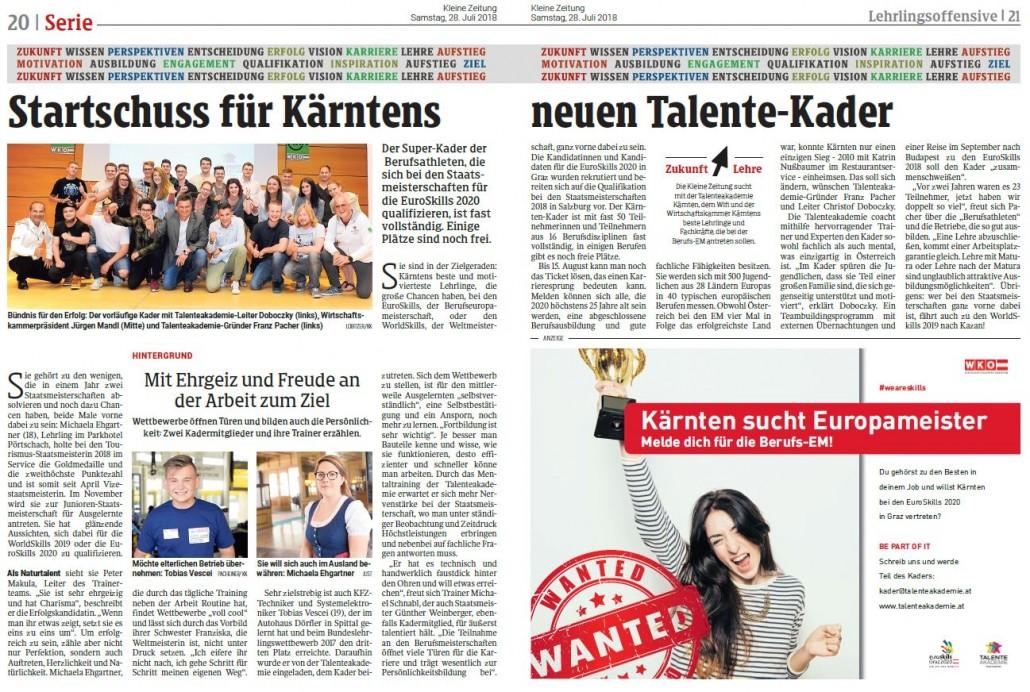 Kleine Zeitung 28.07.2018 Talenteakademie