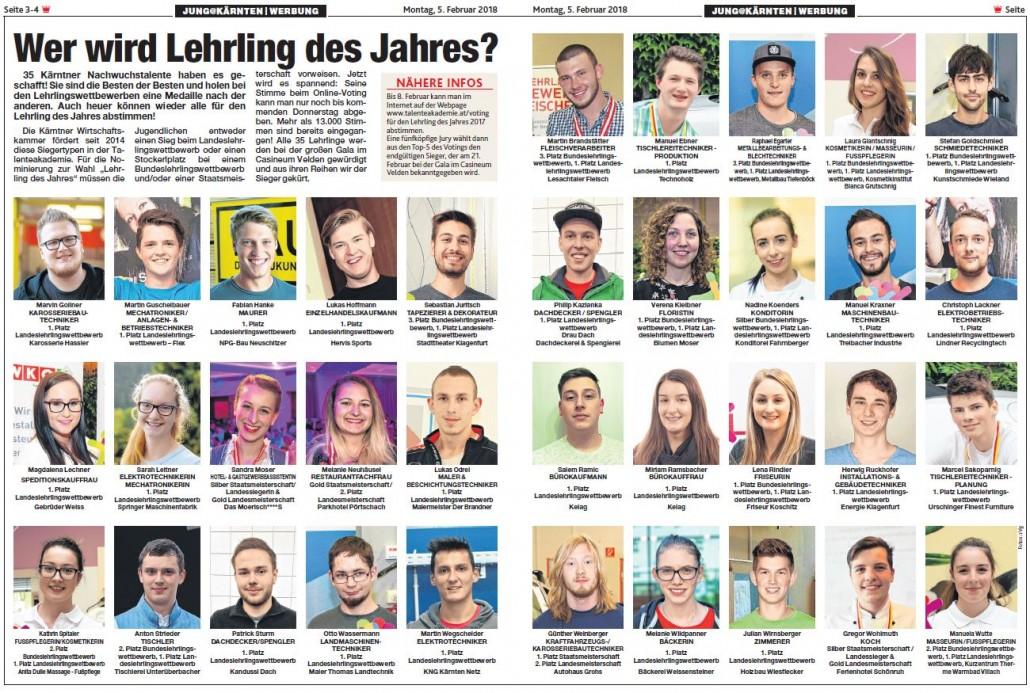 Kronen Zeitung 05.02.2018 Lehrling des Jahres