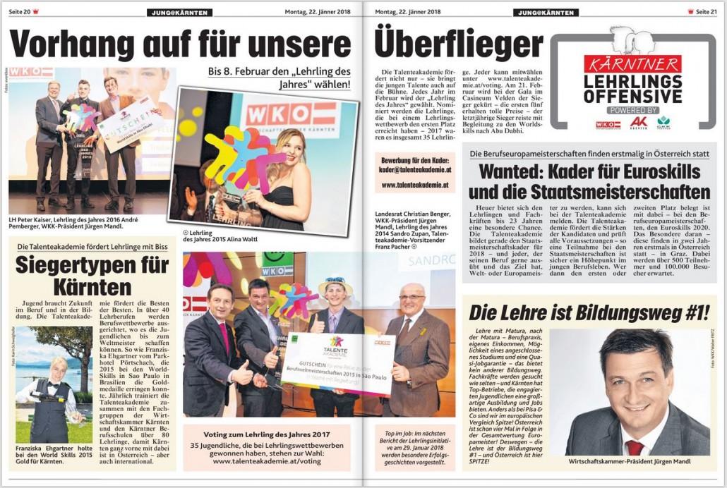Kronen Zeitung 22.01.2018 Lehrling des Jahres