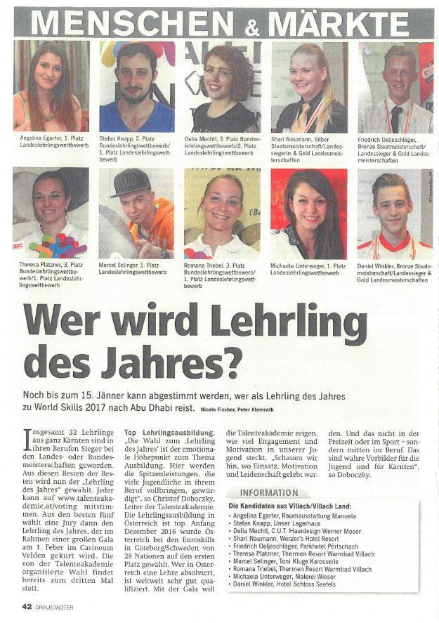 Regionalmedien 11.01.2017 Lehrling des Jahres