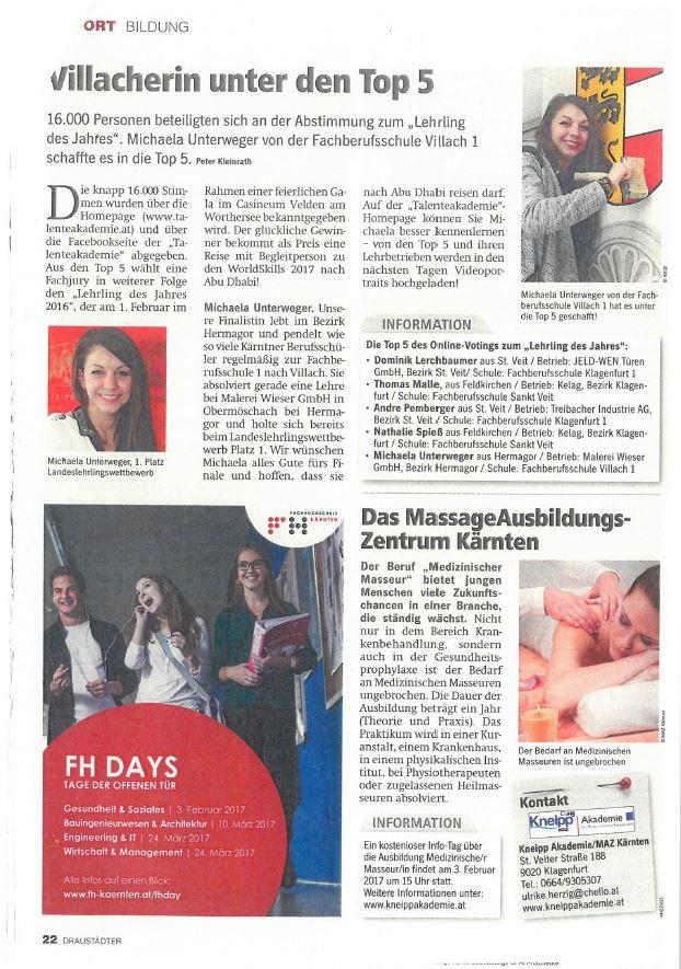 Regionalmedien 25.01.2017 Lehrling des Jahres