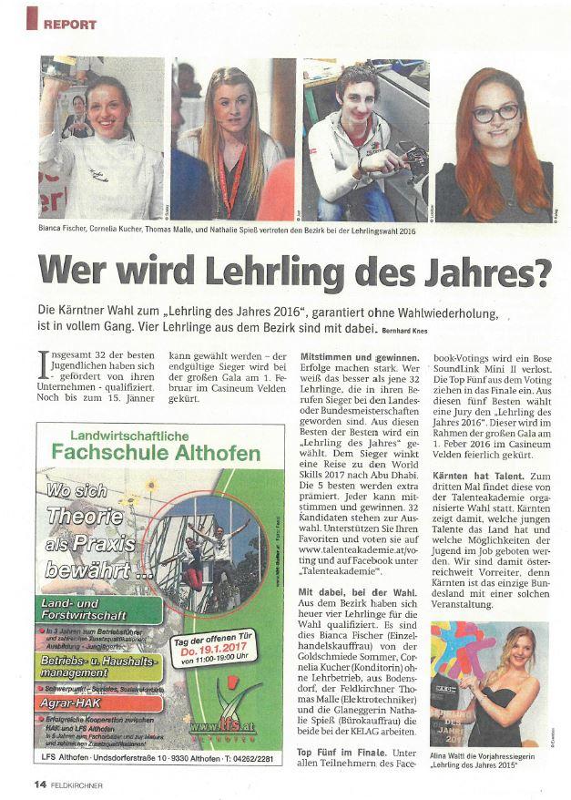 Regionalmedien 28.12.2016 Lehrling des Jahres